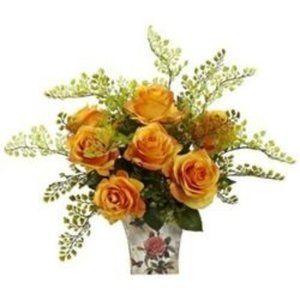 Nearly Natural Decorative Roses w/ Floral Planter
